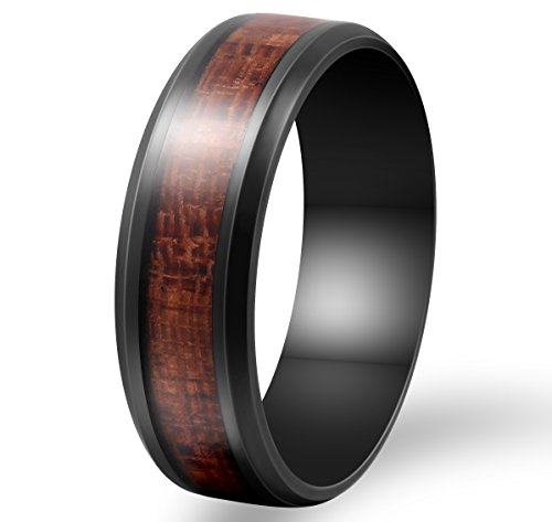 Mens 8mm Black Stainless Steel Ring Vintage Wedding Engagement Promise Band KOA Wood Inlay Comfort Fit Size 10 (Copper Wedding Band)