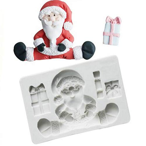 3D Christmas Santa Claus Silicone Mold Fondant Mousse Cake Decorating Mould Cookie Gumpaste Pudding Chocolate Mold,Soap Candle Clay Stencils Making Form Mold,DIY Bakeware Pan, Embossed Baking Mould