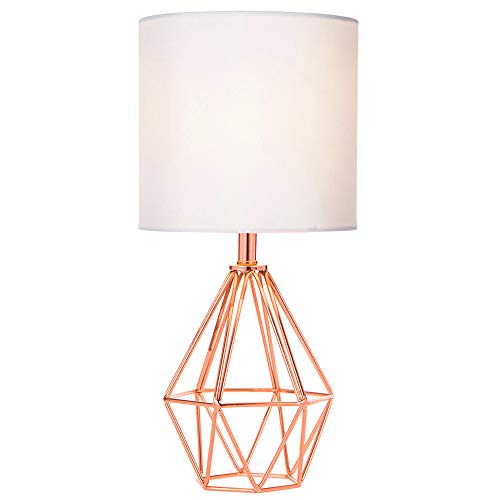 Roses Lamp - COTULIN Rose Gold Modern Hollow Out Base Living Room Bedroom Small Table Lamp,Bedside Lamp with Metal Base and White Fabric Shade