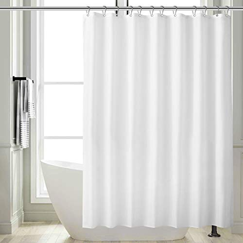 Feagar Fabric Shower Curtain, White Bathroom Liner Waterproof, with 12 Metal Hooks, Grommets and Weighted Hem, Thick and Soft, 72×72 Inch for Bath Tub and Shower Stall