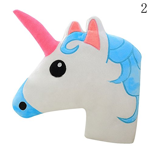 FUNDIY Unicorn Horse Pillow Cushion Animal Doll Toy Home Office Sofa Bed Room Car Decor Kids Gifts Blue