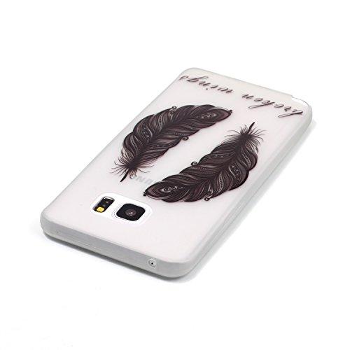 [Extremadamente Delgada] Funda 3D Silicona Transparent para Samsung Galaxy Note 5 , Funda TPU Ultra Slim para Samsung Galaxy Note 5 , TOCASO Case Fina Slim Fit Cristal Clear, Noctilucent Cover Glitter Dos de Plumas Negro