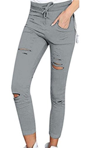 Puro Pantalone Donna Pants Eleganti BIRAN Skinny Coulisse Pantaloni Pantaloni Monocromo Tendenza Grigio Libero Estivi Elastico Colore Matita Grazioso Tempo Cavo qUawxw
