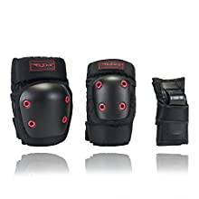 Flybar Knee Pads, Elbow Pads and Wrist Guards Protective Safety Gear Set - Multi Sport Protection For Skateboarding, BMX, Pogoing, Inline Skating, Scooter - Youth, Teen & Adult Sizes (X-Small)