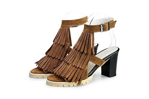 AllhqFashion Mujeres Tacón ancho Sólido Hebilla Sandalias de vestir con Metal camello