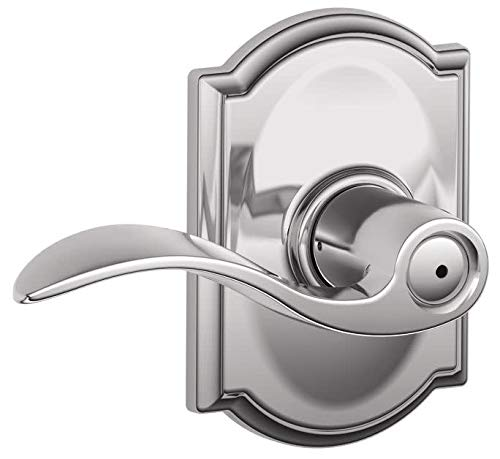 Schlage Accent Lever with Camelot Trim Bed and Bath Lock in Bright Chrome