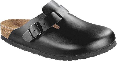 Price comparison product image Birkenstock Boston Smooth Leather Soft-Footbed Regular Black Size EU 38 - US L7 M5