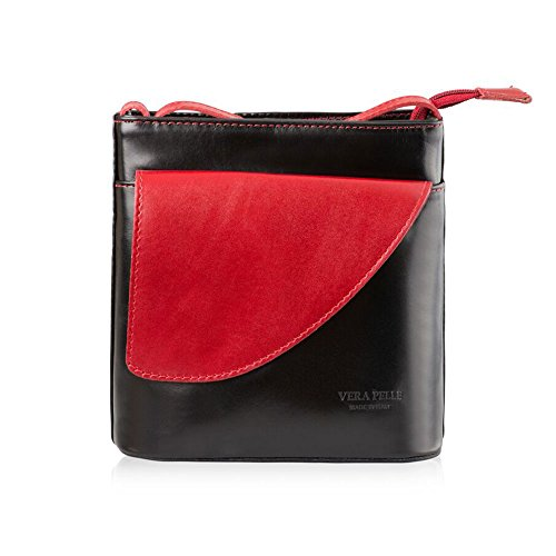 Mayfair Crossed Cashmere Leather Handbag Womens Bright Red And Black