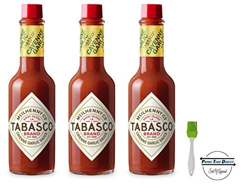 Tabasco Cayenne Garlic Pepper Sauce 5oz (Pack of 3) with Silicone Basting Brush in a Prime Time Direct Sealed Bag