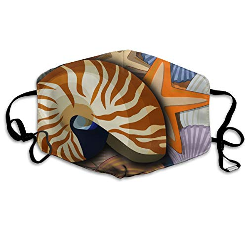 (Chambered Nautilus and Clam Paintings Suitable for Men and Women Flu Dust Filters Masks Outdoor Cycling)