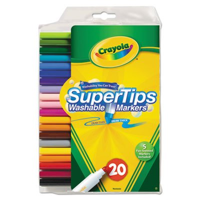 Washable Super Tips Markers with Silly Scents, Assorted, 20/Set, Sold as 20 Each