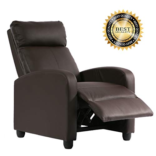 FDW Recliner Chair PU Single Sofa Modern Reclining Seat Home Theater Seating for Living ()