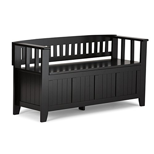 Simpli Home AX2370-B Acadian Solid Wood 48 inch wide Rustic Entryway Storage Bench in Black