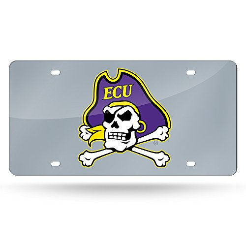 Rico Industries NCAA East Carolina Pirates Laser Inlaid Metal License Plate Tag, Silver