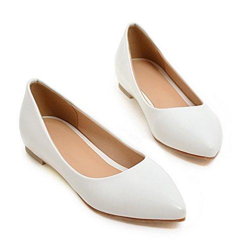 Balamasa Meisjes Vierkante Hakken Laag Uitgesneden Bovendeel Winkle Pinker Geïmiteerd Lederen Pumps-schoenen Wit