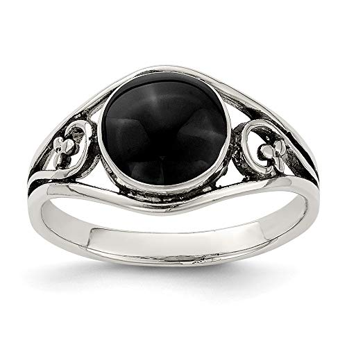 925 Sterling Silver Antiqued Black Simulated Agate Ring Size-8