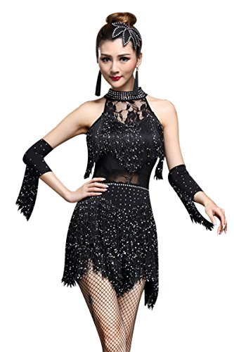 ZX Women's Rhinestone Tassel Flapper Latin Rumba Dance Dress 4 Pieces Outfits (Tag L, Black)