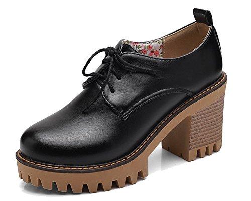 Noir Femme Lacets HiTime Chaussures à wItRqnxz4Y