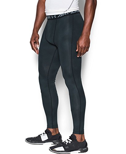 Under Armour Men's HeatGear Armour Printed Compression Leggings, Black/Steel, XX-Large