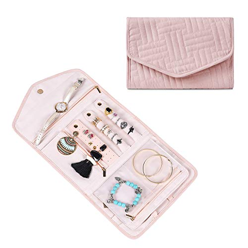 misaya Travel Jewelry Organizer Roll - Women Foldable Jewelry Storage Bag Portable Jewelry Display Holder for Earring Necklace Ring Bracelet, Pink