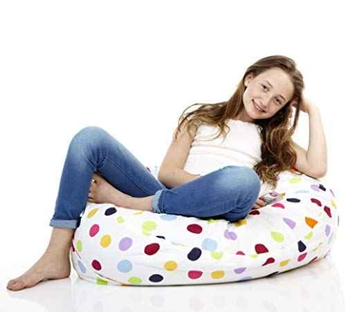SMART WALLABY 2 Sizes in 1 Large Bean Bag Stuffed Animal Storage | XL Jumbo Ottoman for Soft Toys, Plush Toys | Giant Pouf Organizer for Linens, Quilts, Pillows | 300 L. / 80 Gal. | 42 | Polka Dots