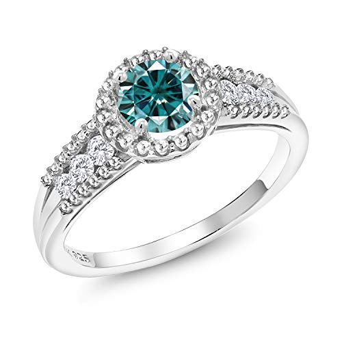 Gem Stone King 925 Sterling Silver Solitaire Ring Round Blue Created Moissanite and Created Sapphire White 0.50ct (DEW) (Size 6)