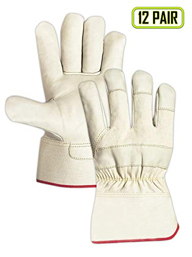 Magid Glove & Safety W5000XL Cow Grain Leather Palm Gloves, XL, Natural (Pack of 12)