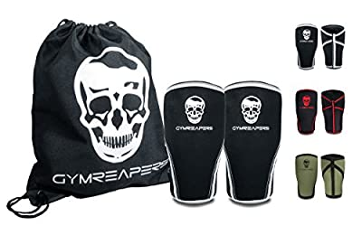 Knee Sleeves (1 Pair) Free Gym Bag - Knee Sleeve & Compression Brace for Squats, Weightlifting, Cross Training and Powerlifting - Gymreapers 7MM Sleeve Pair - For Men & Women - 1 Year Warranty