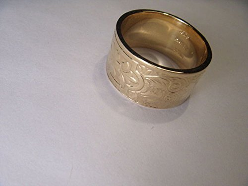 Stunning Antique Estate 14K Yellow Gold Etched Wide Wedding Band Ring (14k Gold Wide Band Ring)