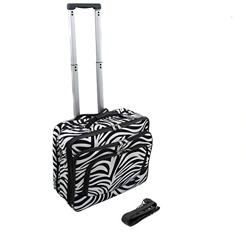 World Traveler Vogue Fashion Ladies Rolling Laptop Computer Briefcase – Black Trim Zebra (Print Zebra Briefcases)