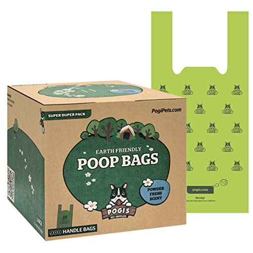 Pogi's Poop Bags - 900 Bags with Easy-Tie Handles - Large, Earth-Friendly, Scented, Leak-Proof Pet Waste Bags ()