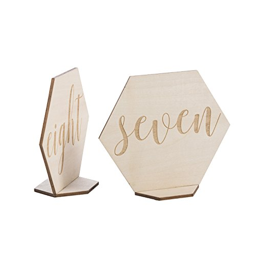 Ling's moment Vintage Elegant Hexagon Diamond Shape 1-15 Wood Table Number Cards Double-Sided Standing Place Card Holders for Wedding Party Bridal Shower Table Decor by Ling's moment