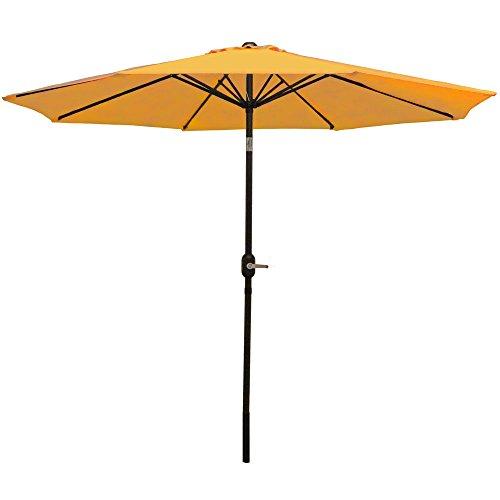 Sunnydaze 9 Foot Outdoor Patio Umbrella with Tilt & Crank, Aluminum, Gold
