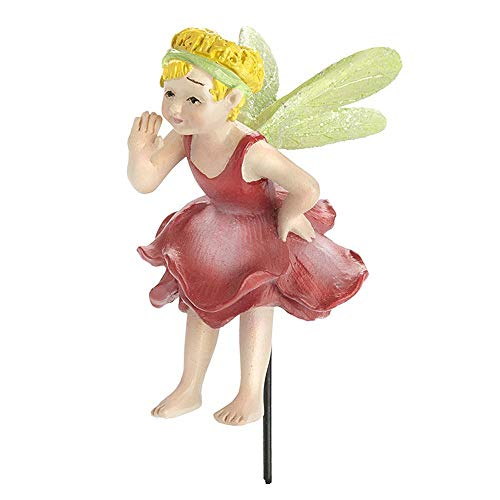 Bell, Pink Rose Fairy with Pick for Miniature Garden, Fairy Garden