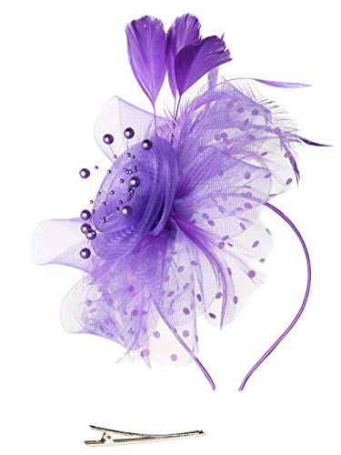 Fascinators Hat for Women Tea Party Headband Kentucky Derby Wedding Cocktail Flower Mesh Feathers Hair Clip (1-Purple)