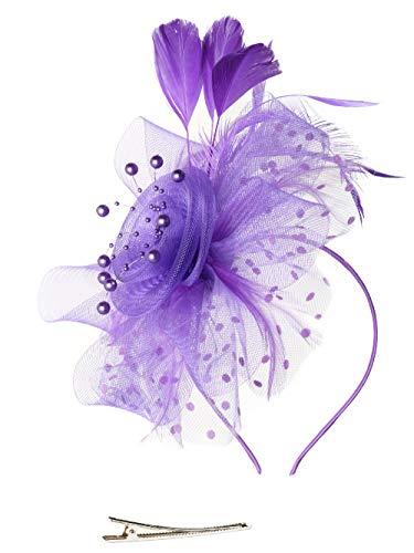 Fascinators Hat for Women Tea Party Headband Kentucky Derby Wedding Cocktail Flower Mesh Feathers Hair Clip (1-Purple) -
