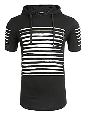 Coofandy Men's Hipster Hip-Hop Longline Premium Tee Pullover Hooded Fashion T-shirt with Side Zipper