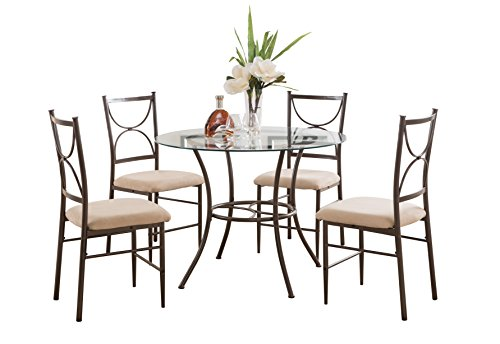 Pilaster Designs - 5 PC. Set Round Glass & Metal Dining Room Kitchen Table & 4 Chairs
