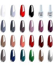 Vishine Gel Nail Polish Set - 22 Classic Color Gel Nail Polish Red White Black 8ml with No Wipe Base and Top Coat,24 PCS Soak Off Gel Nail Starter Gel Nail Kit