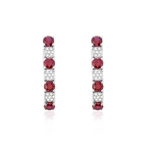 Diamonds Earrings-Round Brilliant White Diamonds (H-I Colour), Ruby, 14K White Gold (Round Red Si3 Diamond)
