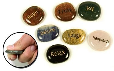 Engraved Inspirational Word Stones – Set up 5 – Grooved Worry Stone – Unique Valentine's Gift