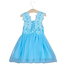 Princess Girls Solid Color Knee Applique Lace Dress for 1-7 Years Old Kids