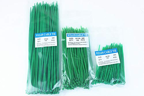 300pcs Nylon Cable Ties inculdes 3sizes 3100 3150 3250 green Color National Standard Self-locking Plastic Wire Zip Tie