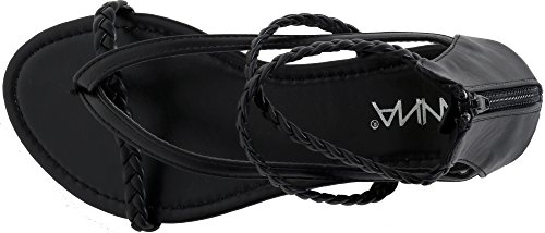 Shoes 5 Anna Sandal Braided Leatherette Kaycee Anna Womens Black Flat by qXE5nwR