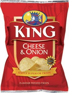 King Crisps -Cheese and Onion - from Ireland 25 x 25g packs