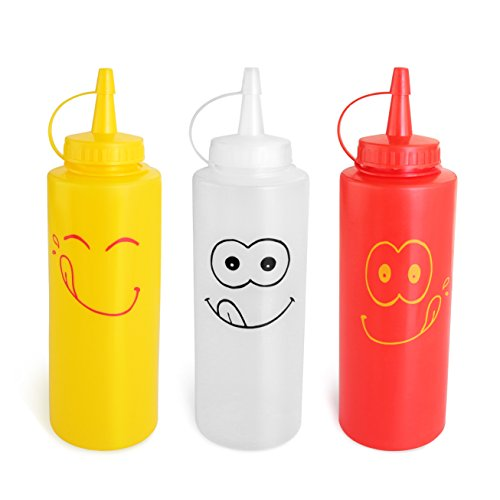 (New Star Foodservice 28560 Smiley Faces Squeeze Bottle Set, Plastic, Red, Yellow, and Clear, 12 oz)