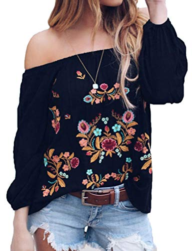ZXZY Women Chiffon Embroidered Off The Shoulder Long Sleeve Bohemian Floral Blouse Tops T Shirt Black