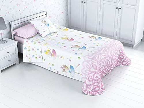 Cabetex Home - Colcha Bouti Infantil Reversible 100% con Funda de cojín y Tacto algodón Mod. Bailarina (Cama de 90 cm (180x270 cm)): Amazon.es: Hogar
