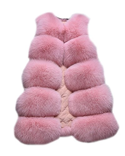 Cappotto Pink Senza Fur Faux Gilet Giacca Pelliccia Di Giubbotto Donna Lungo Giacchetto Maniche Parka OwtBpq