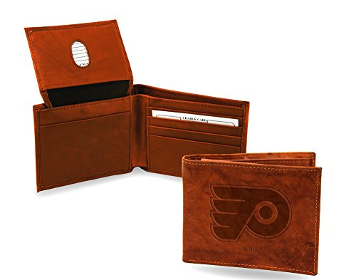Rico Industries Philadelphia Flyers 7405 Wallet Premium Brown Leather Billfold Hockey ()